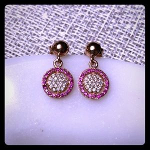 Rose gold plated sterling silver & stones earrings